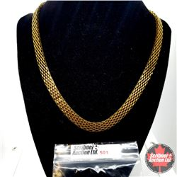 """Chain: Flat Mesh (20"""") Stainless with 14k Overlay ION Plated Brass"""
