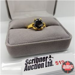Ring - Size 9: Simulated Black Diamond ION Yellow Gold Stainless