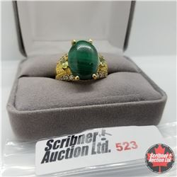 Ring - Size 10: Malachite Peridot Simulated Diamond Stainless with 18K Overlay ION Plated Brass
