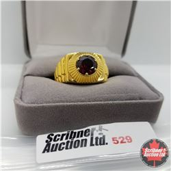 Ring - Size 12: Mens Garnet Stainless with 18K Overlay ION Plated Brass