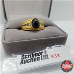 Ring - Size 12: Black Spinel Mens Stainless with 18K Overlay ION Plated Brass