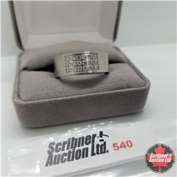 Ring - Size 12: Simulated Diamond Band Stainless