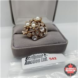 Ring - Size 9: Austrian Crystal Stainless Overlay Rose Gold