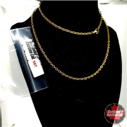 """Chain: (24"""")  - Stainless with 14K Overlay ION Plated Brass"""