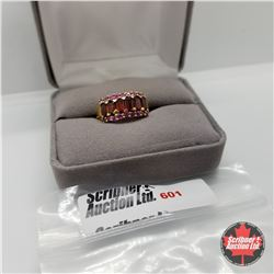Ring - Size 7: Garnet Ruby (Lab) - Sterling Silver  - Stainless with 14K Overlay ION Plated Brass