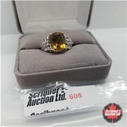 Ring - Size 7: Alexite White Topaz - Platinum Bond Overlay