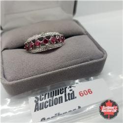 Ring- Size 7: Ruby (Lab) Platinum Bond Overlay