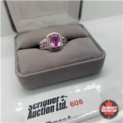 Ring - Size 7: Simulated Pink Sapphire Platinum Bond Overlay