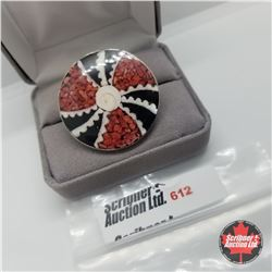 Ring - Size Adjustable: Coral Red/Black - Stainless