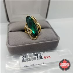 Ring - Size 6.5: Simulated Emerald ION Plate