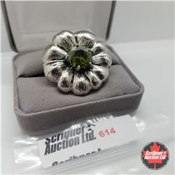 Ring - Size 6: Green Crystal Flower - Stainless