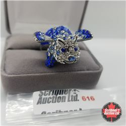 Ring - Size 8: Blue/White Austrian Crystals Flying Pig - Stainless