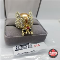 Ring - Size 8: Austrian Crystals - Ladybug - Stainless