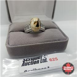 Ring - Size 9: Peanut Wood White Topaz Platinum Overlay