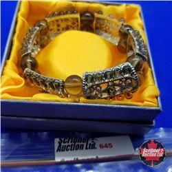Bracelet - Stretch Filigree & Smokey Bead