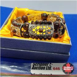 Bracelet - Stretch Filigree & Brown Bead