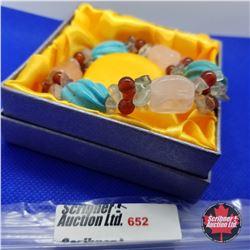 Bracelet - Stretch Howlite Rose Quartz Fluorite Red Agate
