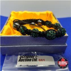 Bracelet - Black & Green Crystal Friendship