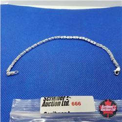 "Bracelet - Simulated Diamond Tennis 7.5"" - Platinum Bond Overlay"