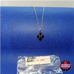 """Necklace - Midnight Blue Sapphire (Lab) (20"""") - Sterling Silver"""
