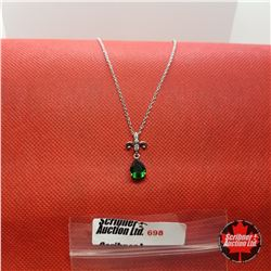 """Necklace - Simulated Emerald (20"""") - Sterling Silver"""