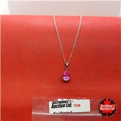 """Necklace - Pink Sapphire (Lab) (20"""") - Sterling Silver"""