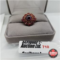 Ring - Size 7: Garnet & Ruby (Lab) - Sterling Silver - Overlay Rose Gold