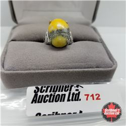 Ring - Size 6: Bumble Bee Jasper White Topaz - Sterling Silver