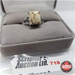 Ring - Size 9: Peanut Wood Black Sapphire Diamond - Sterling Silver - Platinum Bond Overlay
