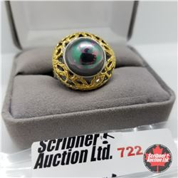 Ring - Size 8: Peacock Pearl Yellow Gold Stainless