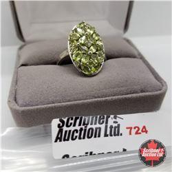 Ring - Size 10: Peridot Platinum Overlay