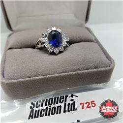 Ring - Size 7: Sim Blue Sapphire Sim Diamond - Stainless