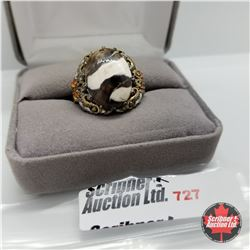Ring - Size 7: Peanut Wood Jasper/Fire Opal Platinum Bond Overlay