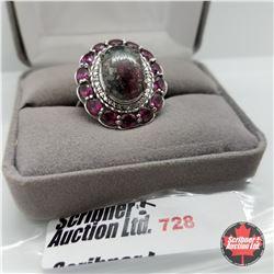 Ring - Size 10: Russian Eudialyte Garnet - Sterling Silver - Platinum Bond Overlay