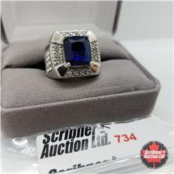 Ring - Size 7: Blue Glass Swarovski White Crystal Stainless