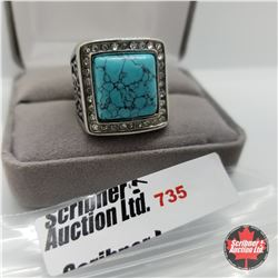 Ring - Size 9: Turquoise Austrian Crystal Stainless