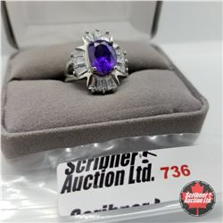 Ring - Size 7: Simulated Purple Sapphire Stainless
