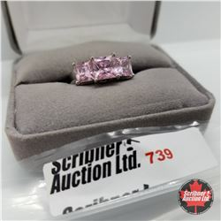 Ring - Size 9: Simulated Pink Diamond Stainless