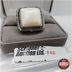 Ring- Size 6: White Shell Stainless