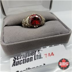 Ring - Size 6: Simulated Red Diamond Stainless