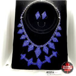 """Set - 3 Piece Austrian Crystal Blue (18"""") - Sterling Silver - Stainless"""