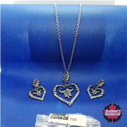 "Set - Heart Swarovski Crystal (20"") - Sterling Silver"