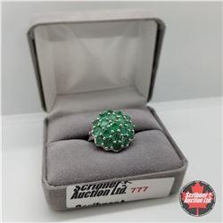 Ring - Size 10: Zambian Emerald Platinum Bond Overlay (w/Box)