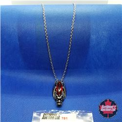 """Pendant - Dragon Red Stone (20"""") Stainless"""