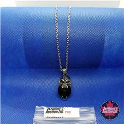 """Pendant - Skull Black Glass (20"""") Stainless"""