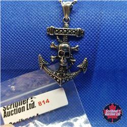 """Pendant - Anchor &Skull (24"""") Stainless"""