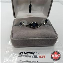 "Set - Midnight Blue Sapphire Size 9 (18"") Platinum Overlay"