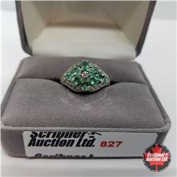 Ring - Size 7: Columbian Emerald - Sterling Silver - Platinum Bond Overlay (w/Box)