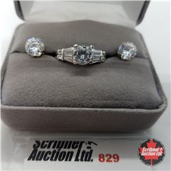 Set - Simulated Diamond Size 8 - Sterling Silver