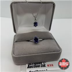 """Set - Simulated Blue Diamond Sterling Size 6 (20"""") - Sterling Silver"""